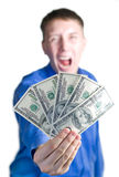 Shouting man hold $500. Shouting man hold � five hundred dollars in a hand. Isolated white Royalty Free Stock Image
