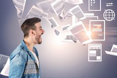 Shouting man, paperwork overload stock photos
