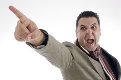 Shouting man pointing side Stock Photos