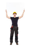 Shouting mechanic holding placard Stock Image