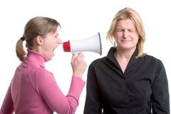 Shouting with a megaphone royalty free stock images