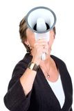 Shouting through megaphone Royalty Free Stock Photo