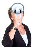 Shouting through megaphone royalty free stock photo
