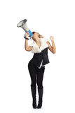 Shouting through  megaphone Stock Photography