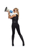 Shouting through  megaphone Royalty Free Stock Image
