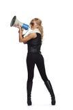 Shouting through megaphone royalty free stock image