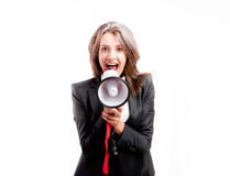 Shouting through megaphone Stock Photos
