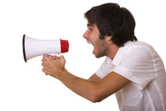 Shouting at the megaphone Stock Photo