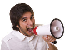 Shouting at the megaphone Stock Images