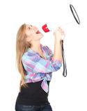 Shouting through megaphone teenage girl. Teenage girl shouting through megaphone white background Royalty Free Stock Photo