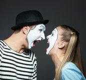Shouting mimes Stock Images