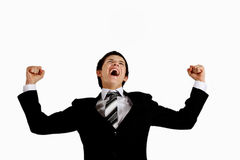 Shouting out loud. Young man in a suit shouting out loudly Royalty Free Stock Photos
