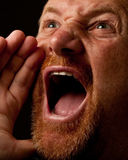 Shouting Out Loud. Man with goatee shouting out loud with his hand raised to his mouth Royalty Free Stock Images