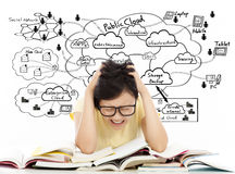 Shouting and painful student girl with cloud computing structure Royalty Free Stock Images
