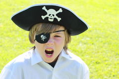 Shouting pirate boy. Face of a little boy with pirate hat Stock Photo