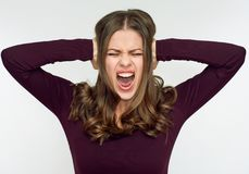 Shouting screaming woman close up face portrait. Isolated on white Royalty Free Stock Photo