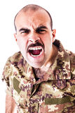 Shouting soldier Stock Photography