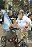 Shouting Street Vendor, Argentine Flag, long beard Royalty Free Stock Image