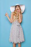 Shouting Summer Woman In Sun Hat Is Showing Thumb Up stock images