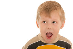 Shouting surprised boy Stock Photos