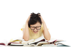 Shouting and tired student girl with many book Stock Photography