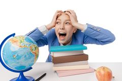 Shouting and tired student girl with many book Stock Images