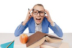 Shouting and tired student girl wearing eyeglasses Stock Images