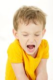Shouting toddler over white Royalty Free Stock Photo