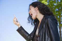 Shouting in video call smartphone Stock Photo