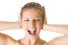 Shouting woman. On white isolated background Stock Images