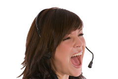 Shouting woman with headset Royalty Free Stock Photo