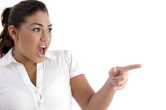 Shouting Woman Indicating Side Royalty Free Stock Images