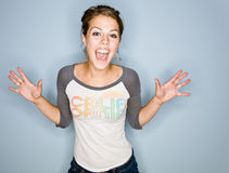 Shouting woman in jeans Royalty Free Stock Photos