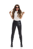 Shouting Woman In Leather Pants Stock Photography