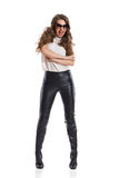 Shouting Woman In Leather Trousers Royalty Free Stock Images