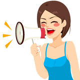 Shouting Woman Megaphone Royalty Free Stock Photo