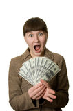 Shouting woman with money Stock Photography