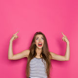 Shouting Woman Pointing Up Stock Images