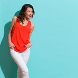 Shouting Woman In Red Shirt On Turquoise Background Royalty Free Stock Photo