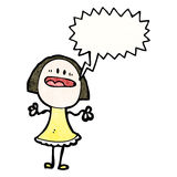 Shouting woman with speech bubble. Retro cartoon with texture. Isolated on White Stock Photography