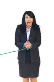Shouting woman with tied hands Stock Images