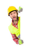 Shouting worker behind big white placard Royalty Free Stock Image