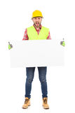 Shouting worker holding a blank placard Stock Photography