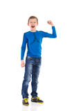 Shouting young boy with arm raised. Stock Image