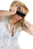Shouting young woman blindfold Royalty Free Stock Image