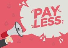 Shoutout för detaljhandelsreabefordran av lön mindre med en megafonanförandebubbla mot en röd bakgrund stock illustrationer