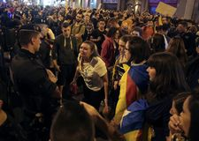 Banned pro independence referendum day in barcelona Stock Photo