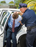 Shoved in Police Car. Criminal handcuffed and being shoved in the back of a squad car by a police officer Royalty Free Stock Image