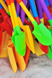Shovel as Kid's toy for playing sand. Colorful shovel in plastic as Kid's toy for playing sand, shown as repeat shape and bright color Royalty Free Stock Photography