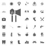 Shovel and axe icon. Camping and outdoor recreation icons set.  Stock Photo